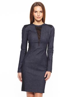 ideeli | NICOLE MILLER Sadie Long Sleeve Denim Dress - don't know about this color but I love this dress design.