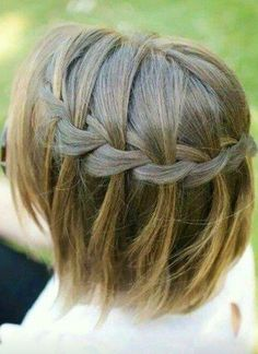 Great Stylish Braided Ponytail Hairstyles 2016 for Little Girls Cute Waterfall Braid for Short Hair Short Hairstyles 2015, Cute Hairstyles For Short Hair, Easy Hairstyles, Girl Hairstyles, Short Hair For Kids, Short Hair Styles Easy, Braids For Short Hair, Twist Ponytail, Braided Ponytail Hairstyles