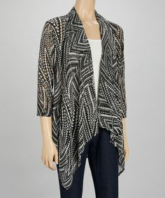 Loving this Black & White Geometric Knit Open Cardigan on #zulily! #zulilyfinds
