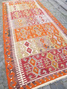 Turkish Kilim Area rug Bohemian Modern Home  by SophiesBazaar, $1080.00