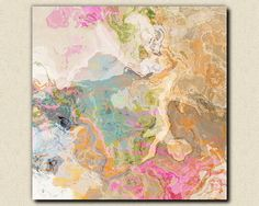 """Large abstract expressionism stretched canvas print, 30x30 in pastels, from abstract painting """"Dreamgirl"""" via Etsy"""