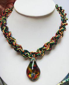 Rasta  Phatty Glass Mushroom Hemp Necklace   by sherrishempdesigns, $28.99