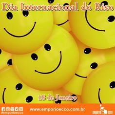 """No dia 18 de janeiro comemora-se o Dia Internacional do Riso. Para alguns especialistas, a terapia do riso é uma forte aliada na luta contra vários males, já que além de proporcionar uma sensação bastante agradável, diminui o grau de estresse, aumenta a circulação sanguínea, aumenta a imunidade, diminui a dor, relaxa os músculos e previne doenças cardíacas! Já que """"rir é o melhor remédio"""", vamos sorrir mais e viver bem!"""