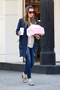 Jessica Biel stops to grab some cupcakes from the 'Little Cupcake Bakeshop' at SOHO in New York City in blue jacket and super chic loafers.