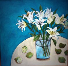 Este MacLeod painting. 'lilies, limes and figs. On show at Will's art