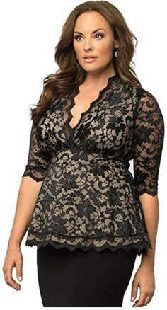 4cbcb5efdb5 online shopping for Kiyonna Clothing Kiyonna Women s Plus Size Linden Lace  Top Black Lace Nude Lining from top store. See new offer for Kiyonna  Clothing ...