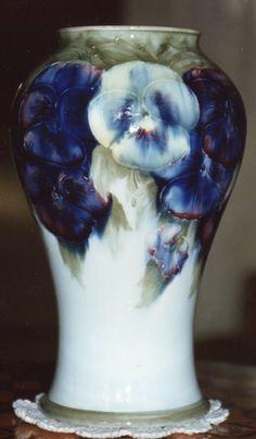 Moorcroft Mottery Pansy Design Vase  Made by William Moorcroft c1915  www.collectingmoorcroftpottery.com