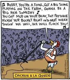 The Argyle Sweater: Chicken A La Queen Music Puns, Music Humor, Music Memes, Funny Puns, Funny Cartoons, Hilarious, Gin Jokes, One Line Jokes, Chicken Jokes