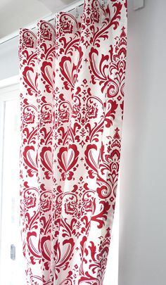 "Two 50""W Cotton Damask Curtains Custom Drape Panels - Premier Print Traditions Damask Pattern Orange, Black, Gray, Blue, Red, Yellow"