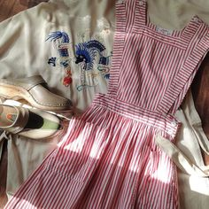 """Fall is for layering.  50s candy striper pinafore 