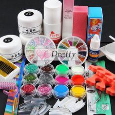 Uk Pro Acrylic Powder Glitter Liquid Nail Art Kit Block Brush Glue Tips Set Nail Art Blog, Nail Art Kit, Gel Nail Art, Nail Art Supplies, Nail Art Tools, Acrylic Nail Brush, Uk Nails, Powder Manicure, Liquid Nails