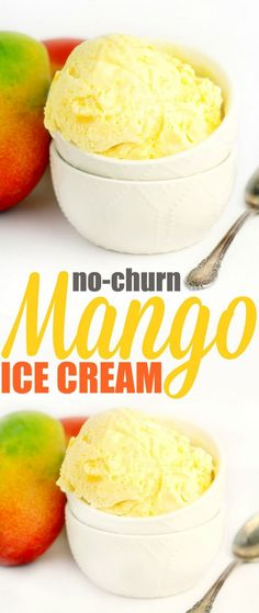 This No-Churn Mango Ice Cream has all the sweet fragrant tropical flavour of mango in a creamy, sweet homemade ice cream. You won't believe how easy this ice cream recipe is – no machine needed!:
