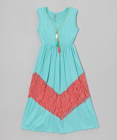 Teal & Coral Lace Sleeveless Dress - Toddler & Girls