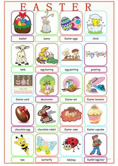 Easter Picture Dictionary worksheet - Free ESL printable worksheets made by teachers Dictionary For Kids, Picture Dictionary, Easter Worksheets, Printable Worksheets, Teaching English, Learn English, English Class, English Grammar, Baby Animal Names