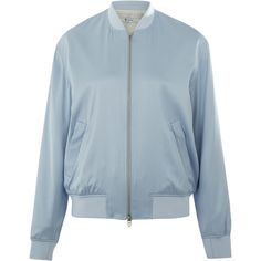 T By Alexander Wang Light Blue Silk-Blend Twill Bomber Jacket ($600) ❤ liked on Polyvore featuring outerwear, jackets, t by alexander wang, blue bomber jacket, flight jacket, bomber jacket and blouson jacket