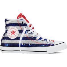 Converse Chuck Taylor All Star Americana Sequin – silver/red/blue... (60 CAD) ❤ liked on Polyvore featuring shoes, sneakers, american flag sneakers, silver sneakers, converse sneakers, silver sequin sneakers and silver high top sneakers