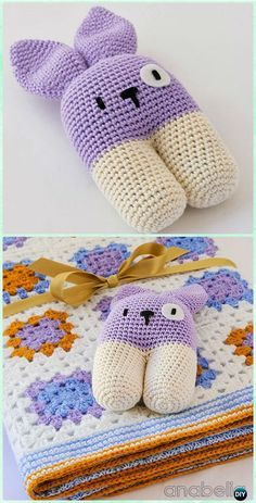Crochet baby Blanket and bunny Rattle Free Pattern - Crochet Baby Easter Gifts Free Patterns