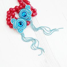 Blue Soutache Earrings-Long Chain Earrings-Blue Crystal Earrings-Long Statement…