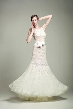 KV Couture, fashion designer Kristina Viirpalu, Liilian dress, http://www.kvcouture.eu/haute-couture/ #kvcouture #kristinaviirpalu #knitted #lace #dress #gown #bridal #white