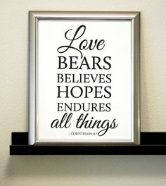 Love Bears, Believes, Hopes, Endures All Things - 1 Corinthians 13:7 - Bible Verse Printable on Etsy, $5.00