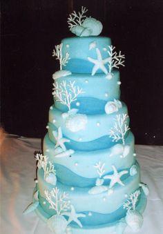Beautiful beach themed wedding cake : beach theme wedding ca Beach Themed Cakes, Beach Cakes, Themed Wedding Cakes, Themed Weddings, Seashell Cake, Starfish Cake, Ocean Cakes, Nautical Cake, Cake Gallery