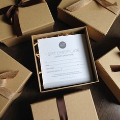 Beautifully packaged gift certificates.                                                                                                                                                      More