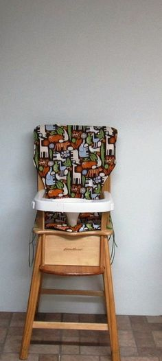 eddie bauer wooden high chair pad, cushion, baby accessory, feeding chair, baby care, home decor, replacement cushion, chair pad, 2D zoo by SewingsillySister on Etsy