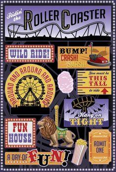 Karen Foster Amusement Park Wild Ride Cardstock Sticker
