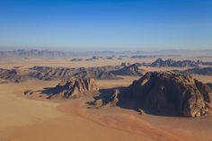 View of Wadi Rum from a hot-air balloon