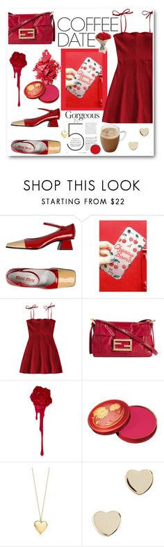 """""""Valentine's Coffee Date"""" by saikoh ❤ liked on Polyvore featuring Miu Miu, ETUÍ, Hotter, Shashi, red, romantic, dress, valentinesday and CoffeeDate"""