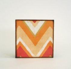Chevron Zig Zag Arrow 5x5 art block on wood Peach Orange Yellow Pink Brown Geometric