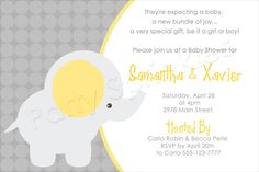 Yellow Baby Elephant-Yellow and gray neutral elephant, neutral baby shower invitation, polka dots, damask pattern, elegant baby shower invitation card, pink and white