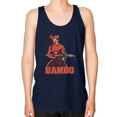 BAMBO YOUR FOREST COMMANDO Unisex Fine Jersey Tank (on man)