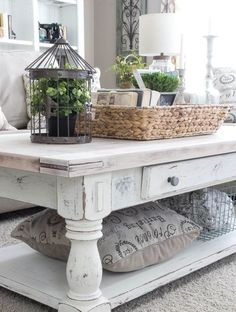 whitewashed distressed coffee table                              …