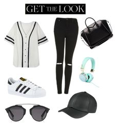 """""""Comfy Cute Airport Style"""" by sydneygorman ❤ liked on Polyvore featuring Topshop, adidas, Givenchy, Christian Dior, GetTheLook and airportstyle"""