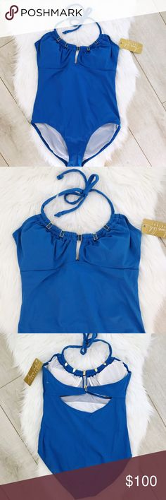 "NWT Anne Cole Control Blue Bathing Suit Beautiful blue swimsuit by Anne Cole with blue and gold hardware detail. Thick material helps with shape control. When laid flat measurements are: bust about 16"", waist about 14"", length from middle of chest to bottom is about 22"". Anne Cole Swim One Pieces"