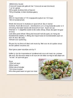 BROCCOLI SLAAI Braai Recipes, Meat Recipes, Cooking Recipes, Recipies, Kos, Healthy Recepies, Summer Salad Recipes, South African Recipes, Simply Recipes
