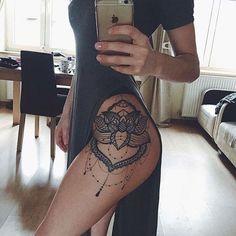 Lace Lotus Flower Mandala Chandelier Hip Tattoo Placement Ideas for Women - Blac. Lace Lotus Flower Mandala Chandelier Hip Tattoo Placement Ideas for Women – Black Henna Leg Side Hip Thigh Tattoos, Leg Tattoos Women, Foot Tattoos, Body Art Tattoos, Sleeve Tattoos, Tattoo Women, Thigh Tattoos For Women, Maori Tattoos, Hip Bone Tattoos