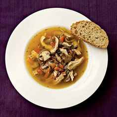 Wild Rice and Mushroom Soup = made with chicken, wild rice, carrots, red bell peppers, mushrooms and low-sodium chicken broth.