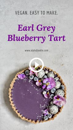 This healthy, refined sugar-free, no-bake vegan Earl Grey blueberry Tart with an almond/coconut base is a delicious addition to any afternoon tea or to impress guests this Summer! Raw Vegan Desserts, Vegan Dessert Recipes, Tart Recipes, Vegan Sweets, Sweet Recipes, Baking Recipes, Cake Filling Recipes, Shortbread Recipes, Fancy Desserts