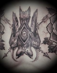 Double headed swallow tattoo, black and gray tattoo, sacred geometry tattoo