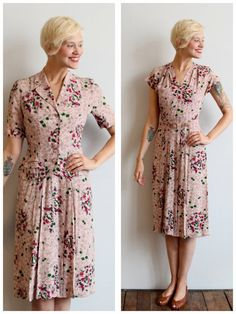 1940s Dress // Fruits & Floral Dress and Jacket by dethrosevintage