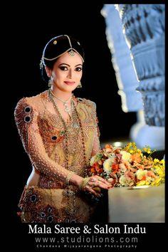 Sri Lankan sarees by Mala saree Bride Reception Dresses, Red Wedding Dresses, Bridal Dresses, Bridal Sari, Wedding Silk Saree, Bridesmaid Saree, Brides And Bridesmaids, Bridal Looks, Bridal Style