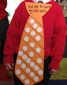 A great speaking and listening practical activity for our nursery children. This was an open ended activity, the children could compare stripes, find the stripe with the most dots, or find the stripe with 1 more spot etc. The ties were giant because it linked to our topic of The Smartest Giant In Town.