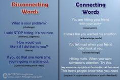Learn the difference between connecting and disconnecting with your kids. The way you parent and your choice of words can potentially push your child away.