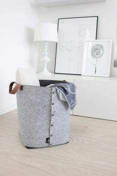 Norsu - Sne Design grey felt storage box with leather straps, $130.00 (http://www.norsu.com.au/sne-design-grey-felt-storage-box-with-leather-straps/)
