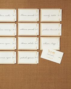 These escort cards get their antique feel from a design reminiscent of a telegram.