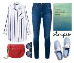 """""""Striped Shirts"""" by stavrolga ❤ liked on Polyvore featuring Frame Denim, Keds, Love Moschino, Karen Walker, polyvoreeditorial, stripedshirt and polyvorecontest"""