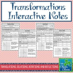 This product involves four pages of interactive notes on translations, dilations, rotations and reflections. Each note page provides an opportunity for students to complete the definition, examine and compare the angles and sides of the images, list the pre-image and image coordinates and to describe in words the transformation completed. A graph is provided with the pre-image. Students can use colored pencils to graph the additional images.    An answer key is provided.