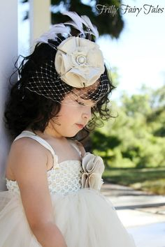 Ivory & Champagne Flower Girl Dress by FrillyFairyTales